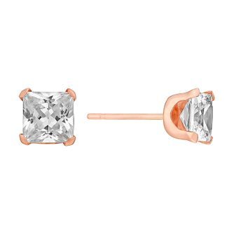 9ct Rose Gold & Cubic Zirconia 5mm Square Stud Earrings - Product number 3058115