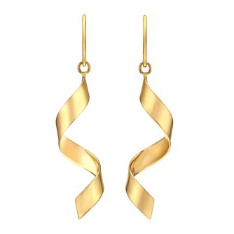 Together Silver & 9ct Bonded Gold Twist Drop Earrings - Product number 3058360
