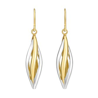Together Bonded Silver & 9ct Yellow Gold Drop Earrings - Product number 3058417