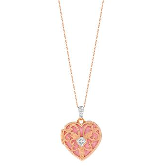 9ct Rose Gold 18 inches Diamond Set Filigree Heart Locket - Product number 3058441