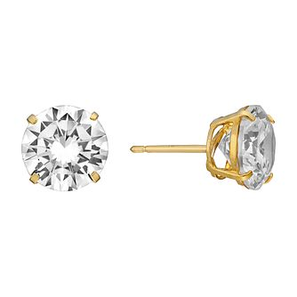 9ct Yellow Gold Cubic Zirconia 9mm Stud Earrings - Product number 3058654