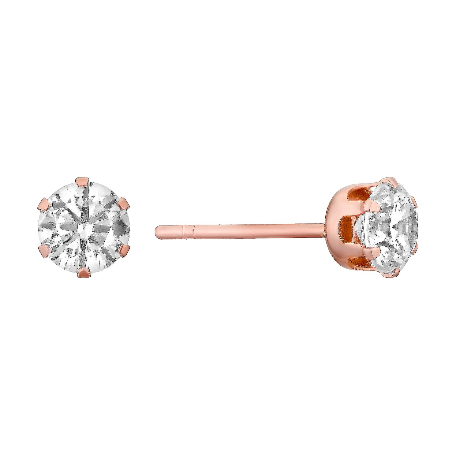 9ct Rose Gold & Cubic Zirconia 4mm Round Stud Earrings - Product number 3060462