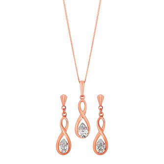 9ct Rose Gold & Cubic Zirconia Earrings & Pendant Set - Product number 3060616