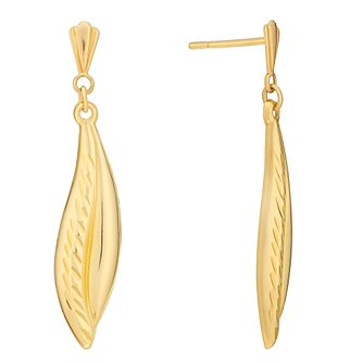9ct Yellow Gold Diamond Cut Leaf Drop Earrings - Product number 3060691