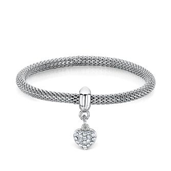 Buckley London Rhodium-Plated Stone Set Heart Charm Bracelet - Product number 3061760