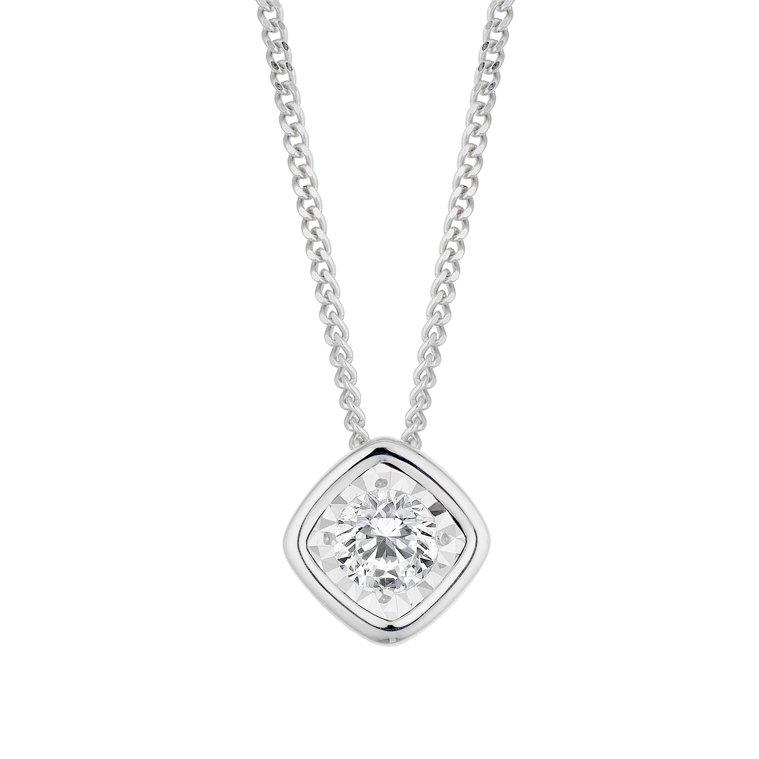 9ct White Gold 1/10ct Cushion Diamond Illusion Set Pendant - Product number 3061981