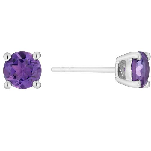 9ct white gold amethyst stud earrings - Product number 3062678
