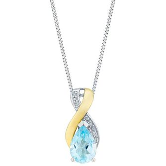 Sterling Silver & 9ct Gold Blue Topaz & Diamond Pendant - Product number 3063267
