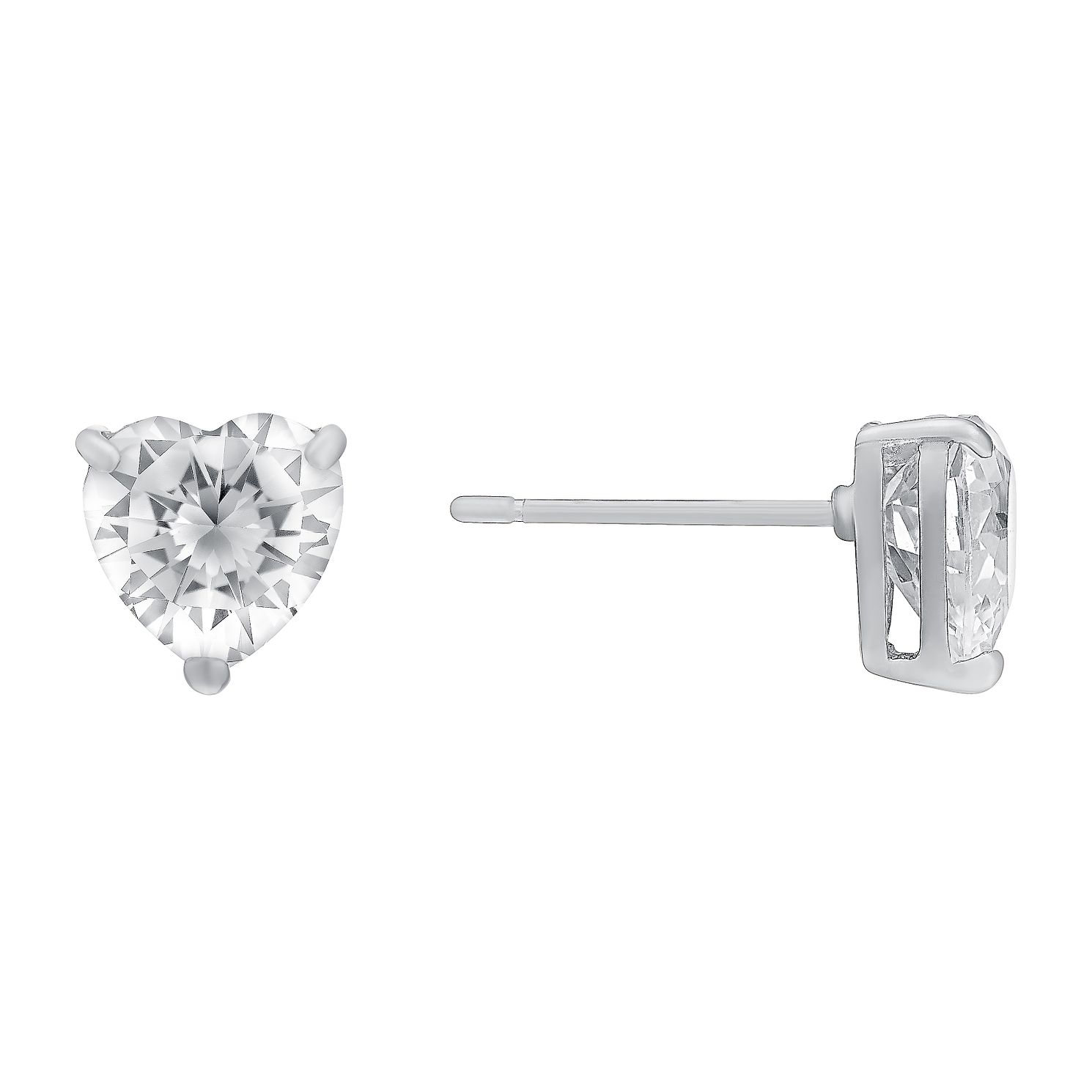 9ct White Gold Heart-Shaped Cubic Zirconia Stud Earrings - Product number 3063496