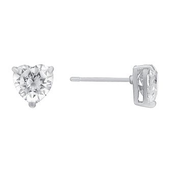eded5aad3 9ct white gold heart-shaped cubic zirconia stud earrings - Product number  3063496
