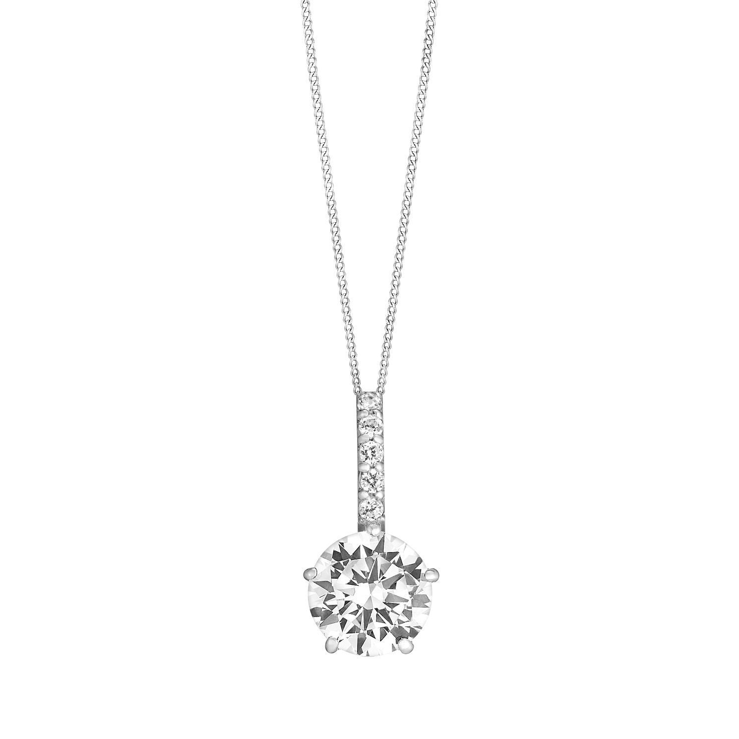 9ct White Gold Cubic Zirconia Bail Solitaire Pendant - Product number 3063631