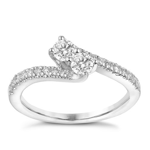 Ever Us 14ct White Gold 1/4 Carat Diamond Twist Ring - Product number 3068552