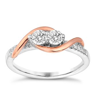 Ever Us 14ct White & Rose Gold 1/4 Carat Diamond Ring - Product number 3070220