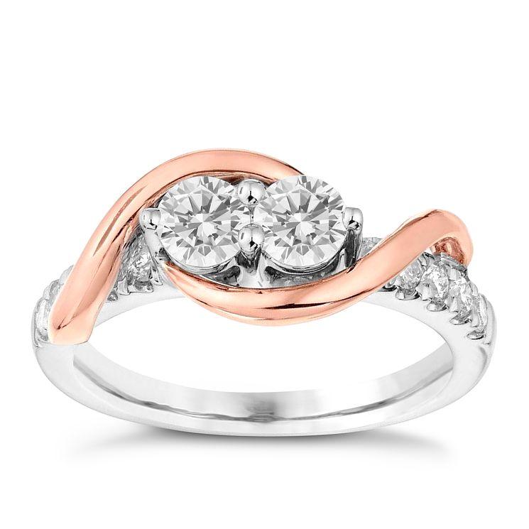 Ever Us 14ct White & Rose Gold 3 4 Carat Diamond Ring