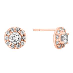 9ct Rose Gold & Cubic Zirconia Halo Stud Earrings - Product number 3071030