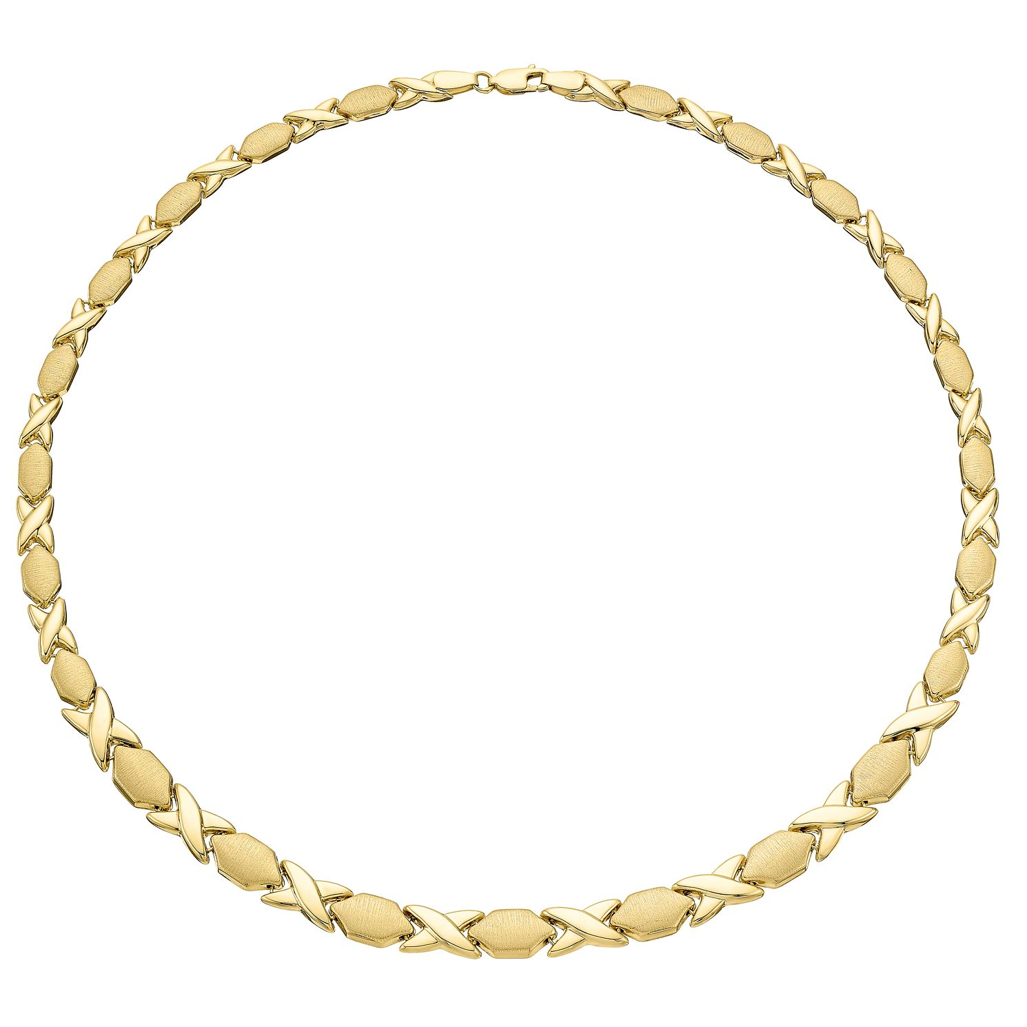 9ct Gold Kiss And Bar Link Necklet - Product number 3071510