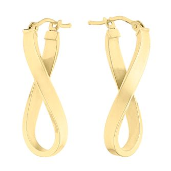 9ct Yellow Gold Long Twist Hoop Earrings - Product number 3071596