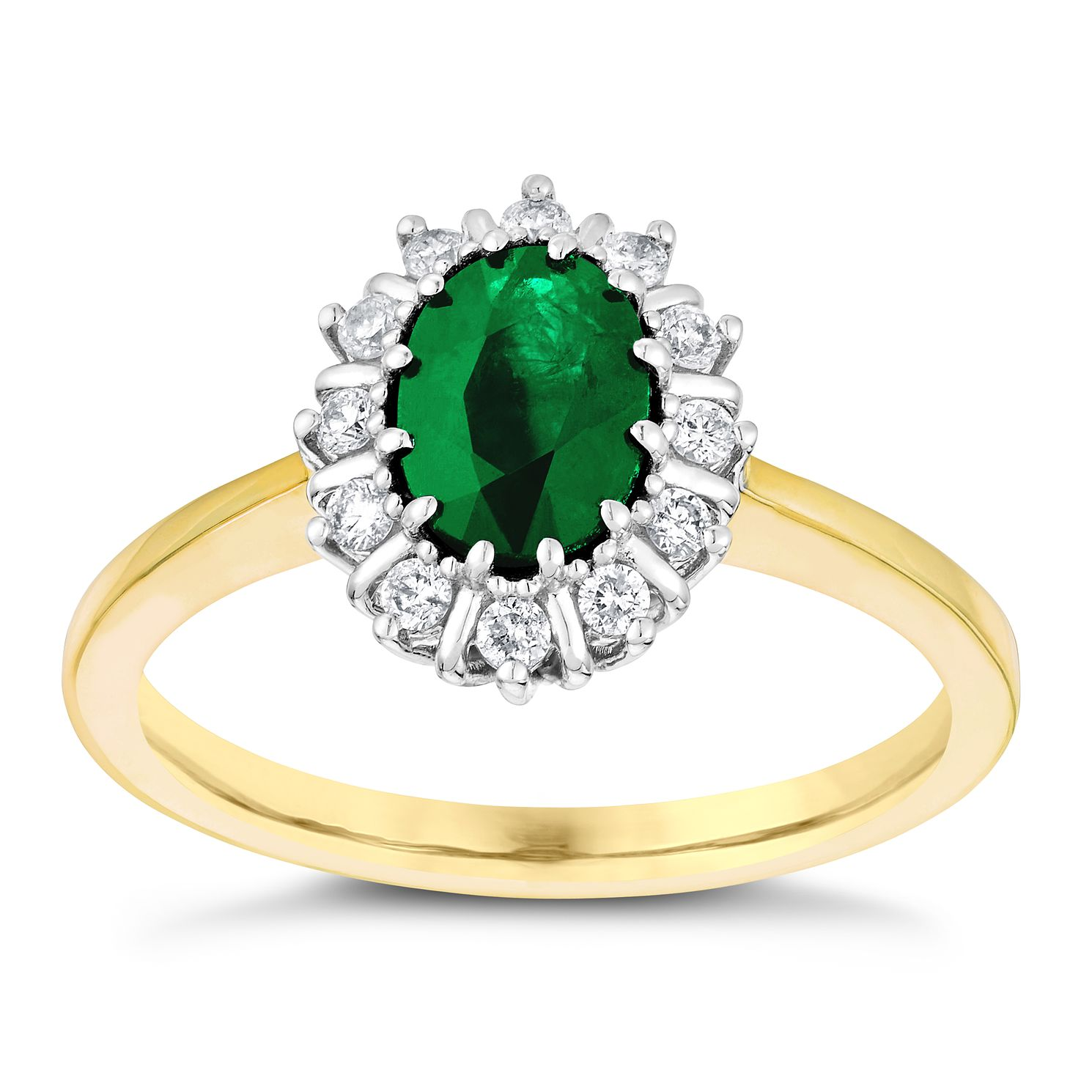18ct Yellow & White Gold Emerald & 0.15ct Diamond Ring - Product number 3072096