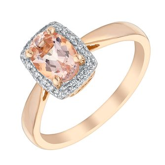 9ct Rose Gold Morganite & Diamond Ring - Product number 3073688