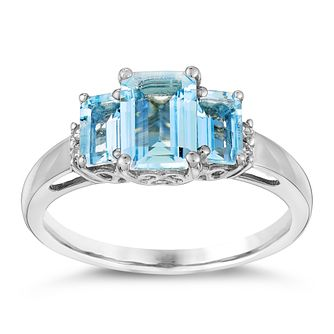 9ct White Gold Aquamarine & Diamond Ring - Product number 3074528