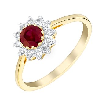 9ct Yellow Gold Ruby & 0.10ct Diamond Ring - Product number 3077039