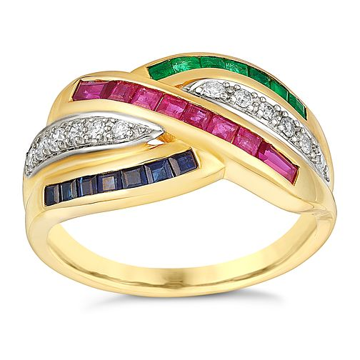 8f58b857a 9ct yellow gold ruby, sapphire, emerald & 12pt diamond ring - Product number  3077608