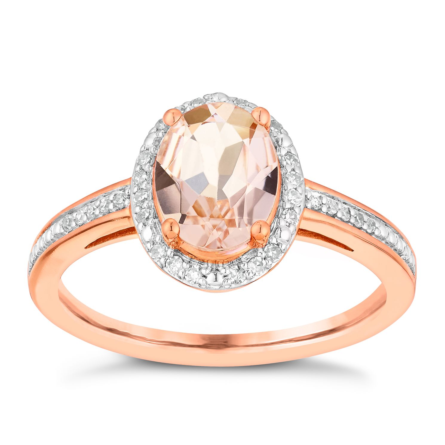 9ct Rose Gold 10Pt Diamond & Morganite Ring - Product number 3080617
