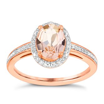 9ct Rose Gold Morganite & 0.10ct Diamond Ring - Product number 3080617