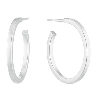 Silver Plain Half Hoop Earrings - Product number 3081281