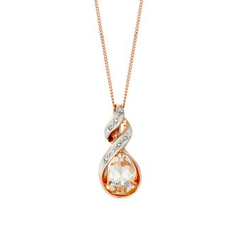 9ct Rose Gold Diamond And Morganite Twist Pendant - Product number 3081303