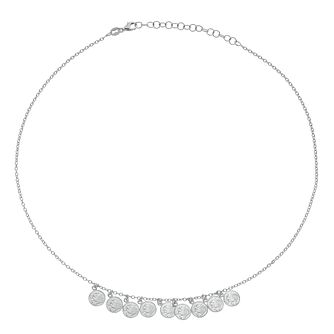 Silver Drop Coin Charm Chain Necklace - Product number 3081451