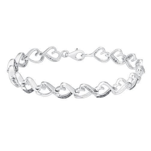 Sterling silver 16pt treated black & white diamond bracelet - Product number 3081583