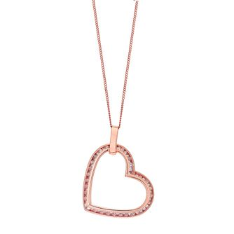 9ct rose gold cubic zirconia angle heart pendant - Product number 3081761
