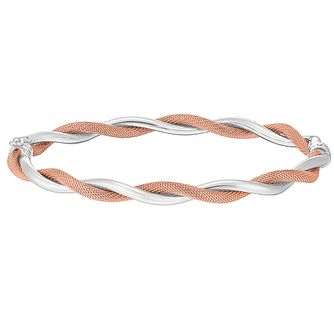 9ct White & Rose Gold Twist Bangle - Product number 3081877