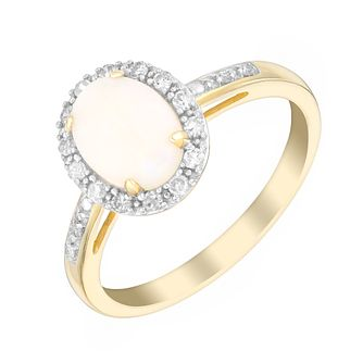 9ct Yellow Gold Opal & 0.13ct Diamond Ring - Product number 3082059