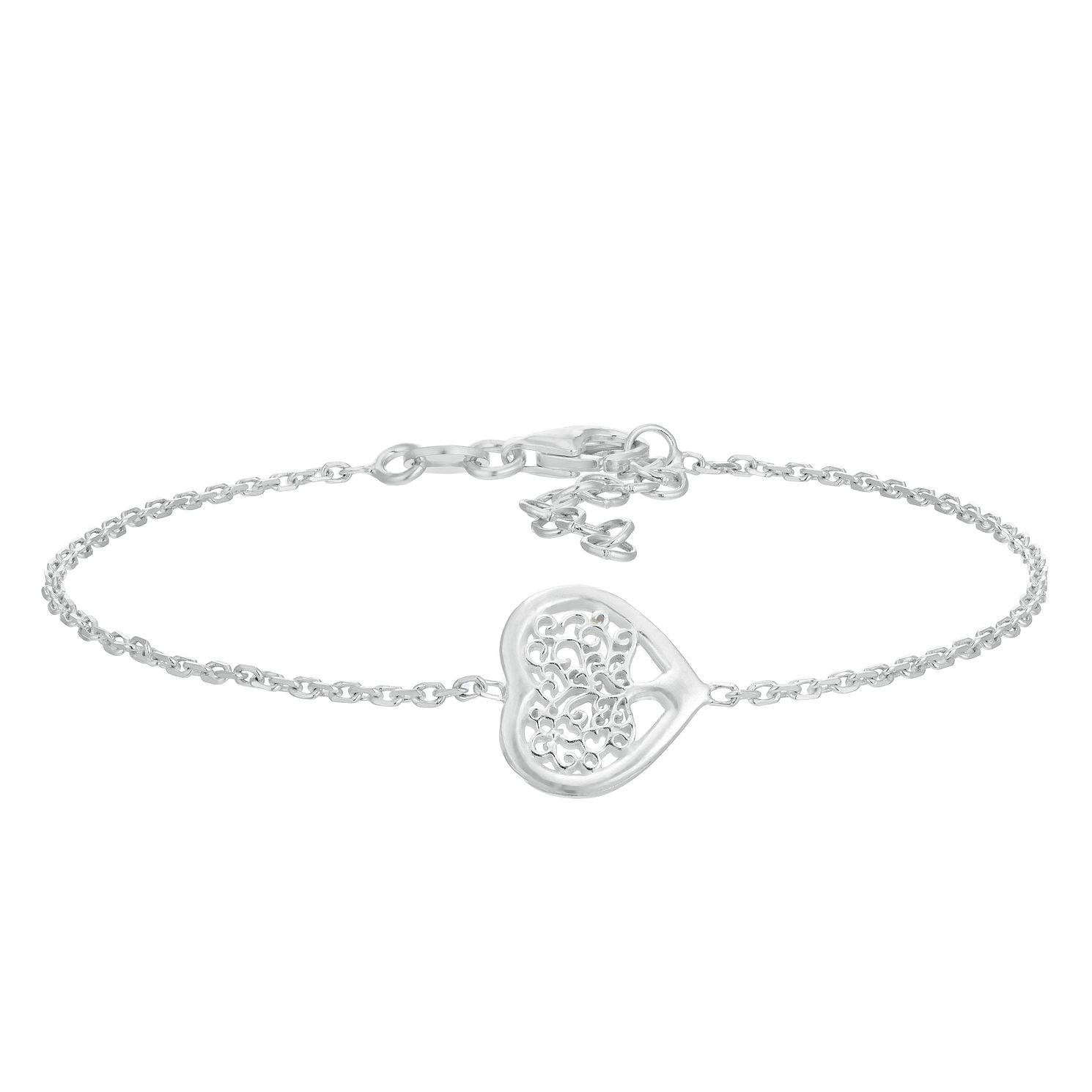 Sterling Silver Tree Of Life Design Heart Bracelet - Product number 3082652