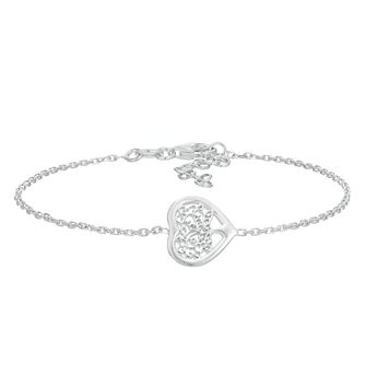 Silver Tree Of Life Design Heart Bracelet - Product number 3082652