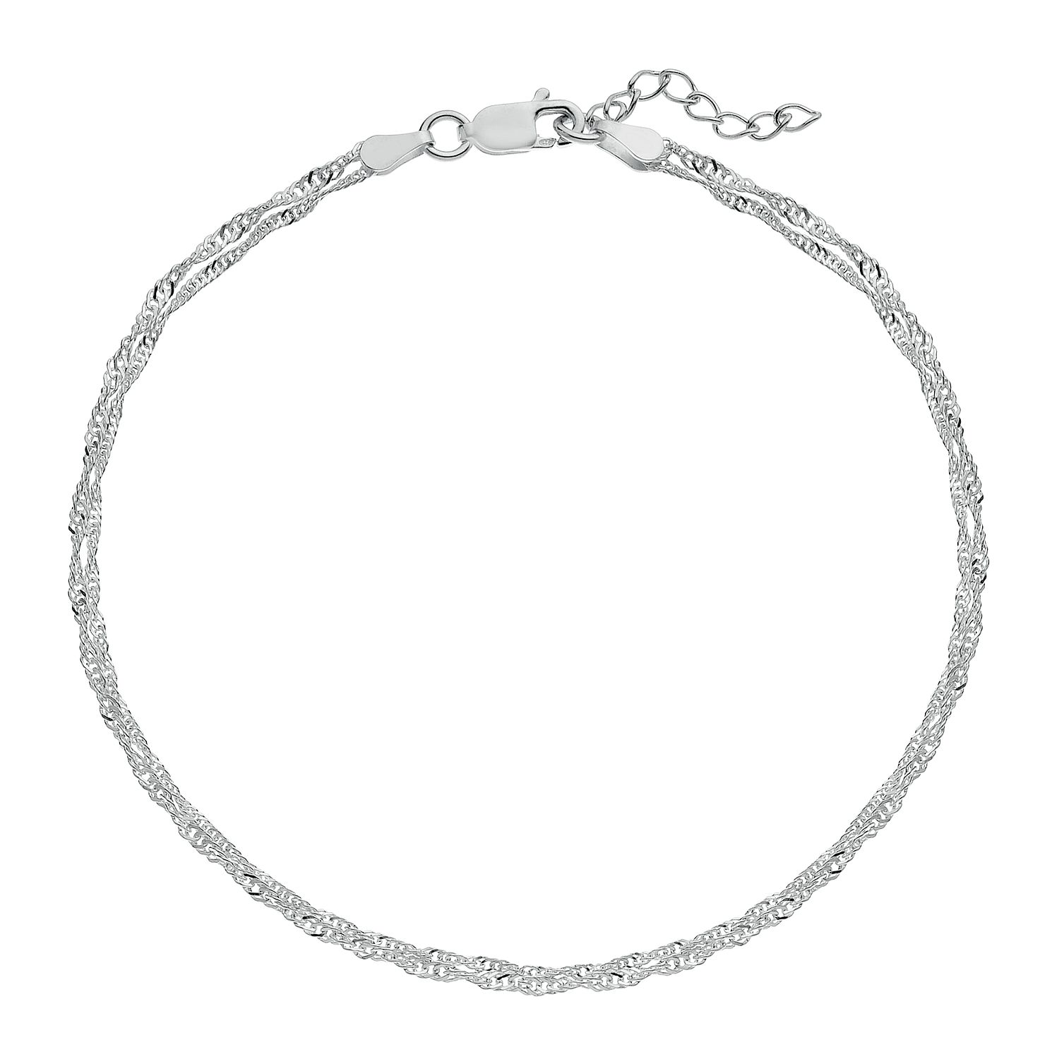Silver Twisted Double Chain Anklet - Product number 3082660