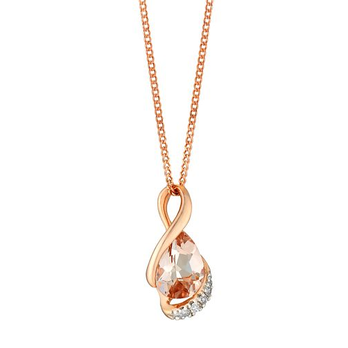 9ct rose gold morganite and diamond pendant - Product number 3084280