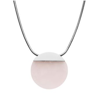 Skagen Ellen Ladies' Stainless Steel Rose Quartz Necklace - Product number 3086429