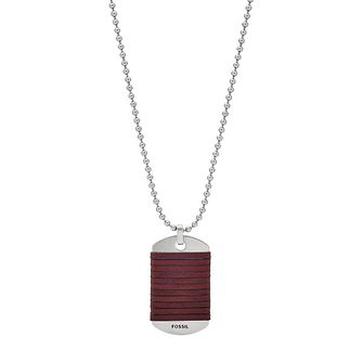 Fossil Men's Stainless Steel & Brown Leather Tag Necklace - Product number 3086445