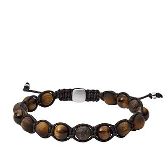 Fossil Men's Tiger's Eye & Bronzite Beaded Bracelet - Product number 3086488