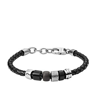 Fossil Men's Black Leather & Stainless Steel Woven Bracelet - Product number 3086496