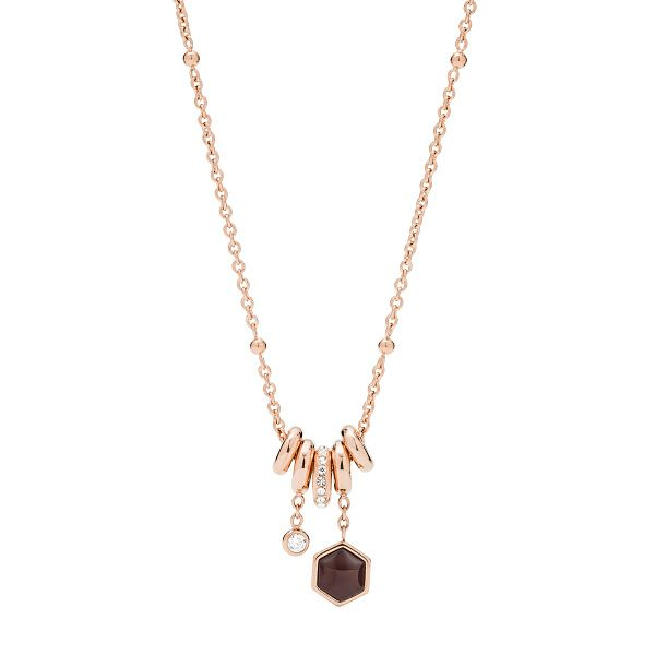 Fossil Rose Gold Tone Semi-Precious Hexagon Necklace - Product number 3086526