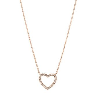 Fossil Rose Gold tone Open Heart Stone Set Necklace - Product number 3086674