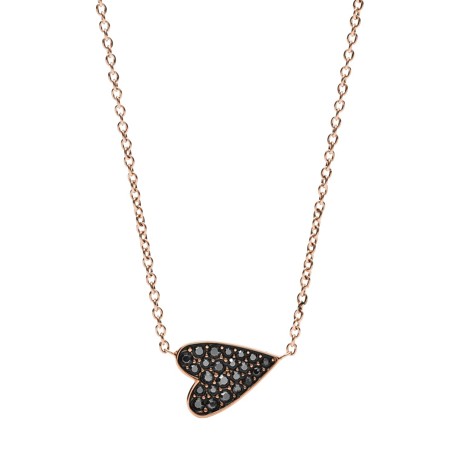 Fossil Rose Gold Tone Glitz Stone Set Black Heart Necklace - Product number 3086690