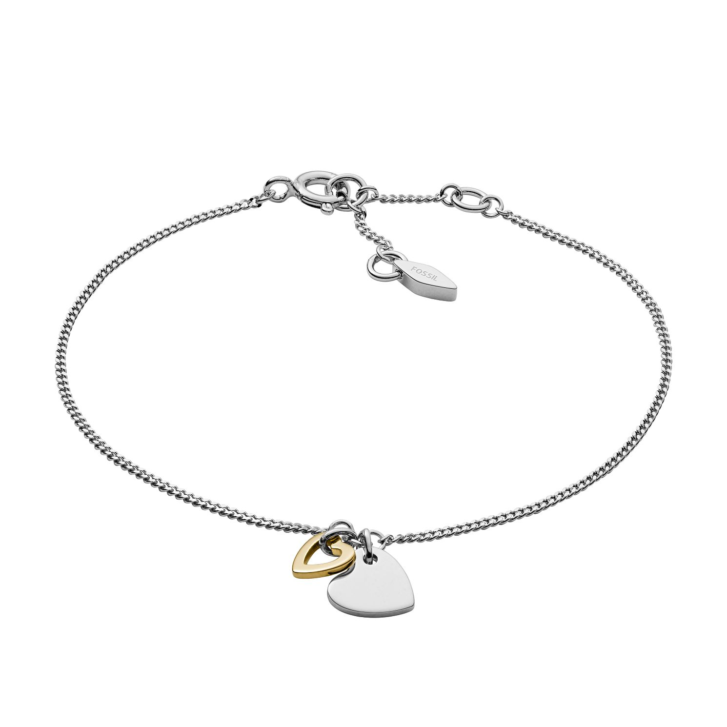 Fossil Rose Gold Tone & Silver Open Heart Bracelet - Product number 3086704