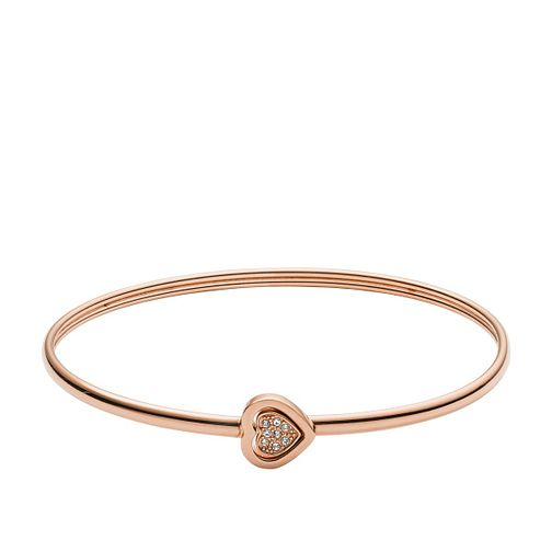 Fossil Rose Gold tone Vintage Motif Heart Bangle - Product number 3086976