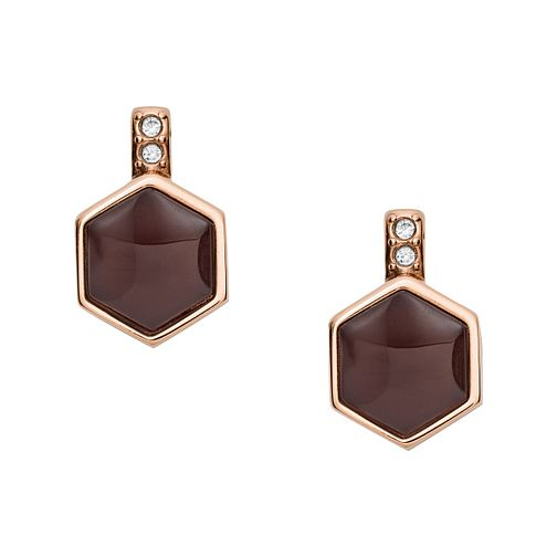 Fossil Rose Gold tone Semi-Precious Hexagon Stud Earrings - Product number 3087417