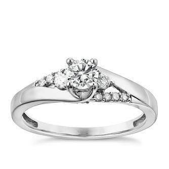 9ct White Gold 2/5 Carat Diamond Solitaire Ring - Product number 3094413